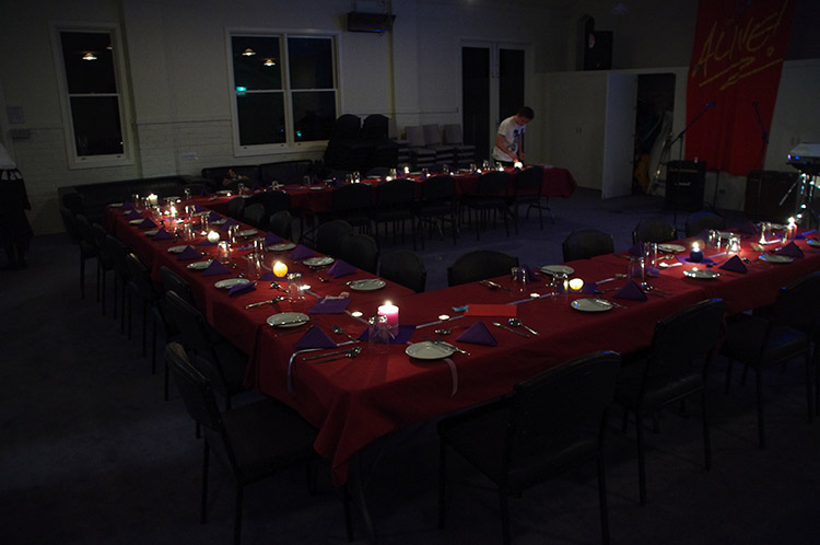Set up for a formal dinner